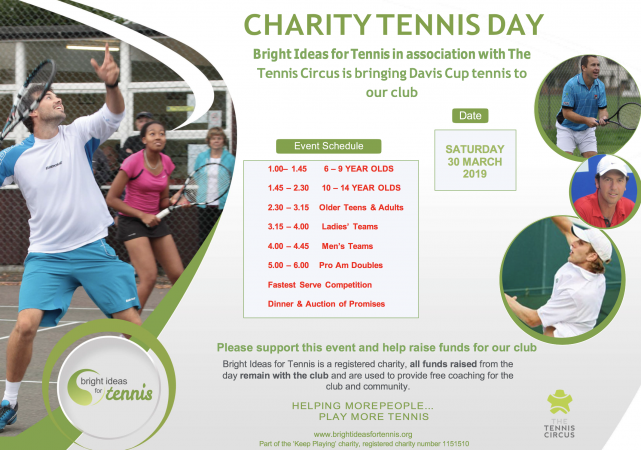 Charity Tennis Day and Fundraiser 30th March